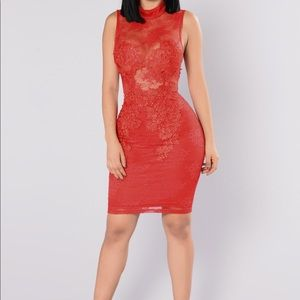 Red lace fashion nova dress